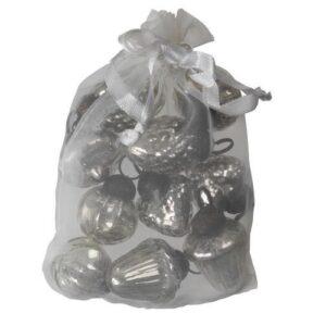10 små julekugler sølv