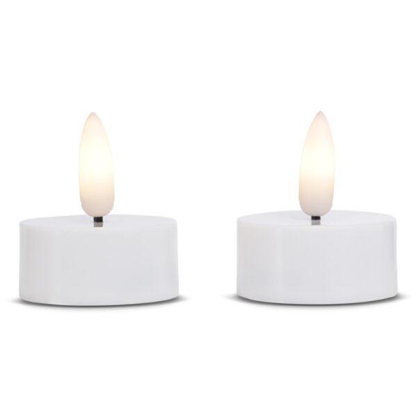 2 stk. LED fyrfadslys i plastik med realistisk bevægelig flamme 3.8x2cm - HVID