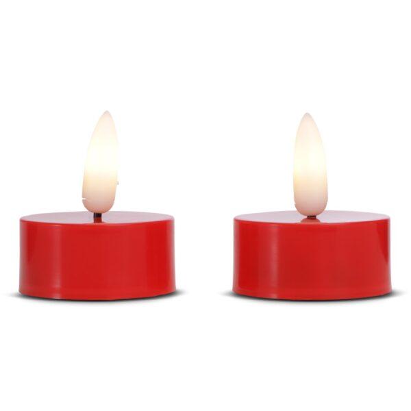 2 stk. LED fyrfadslys i plastik med realistisk bevægelig flamme 3,8x2cm - RØD