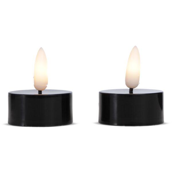 2 stk. LED fyrfadslys i plastik med realistisk bevægelig flamme 3,8x2cm - SORT