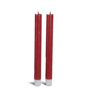 2 stk. LED kronelys i stearin med realistisk bevægelig flamme - RØD