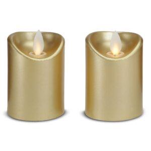 2 stk. LED stearinlys med bevægelig flamme 5,5x7cm - GULD
