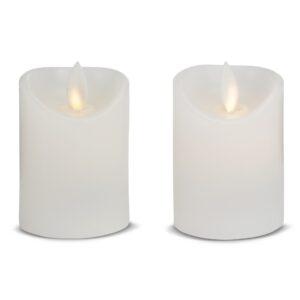 2 stk. LED stearinlys med bevægelig flamme 5,5x7cm - HVID