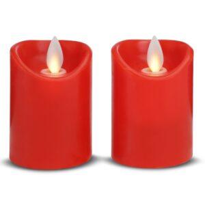2 stk. LED stearinlys med bevægelig flamme 5,5x7cm - RØD