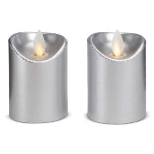 2 stk. LED stearinlys med bevægelig flamme 5,5x7cm - SØLV