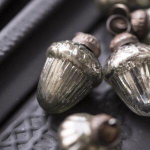 2020 - Glaskugler antik sølv - 10 stk. mini i silkepose fra Ib Laursen