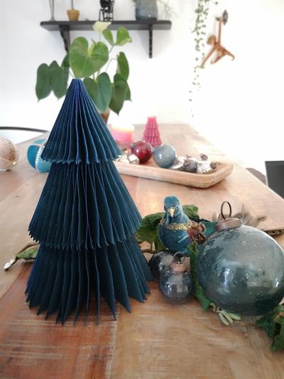 2020 - Papir juletræ i papir fold fra Skinbjerg - petroleum - 20 cm