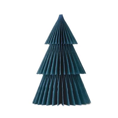 2020 - Papir juletræ i papir fold fra Skinbjerg - petroleum - 37 cm