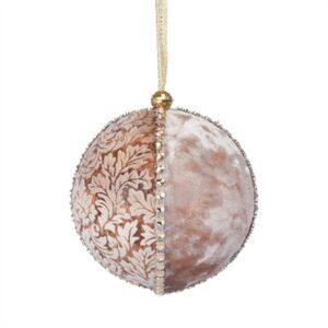 2020 - julekugle med stof - rosa - Ø: 8 cm