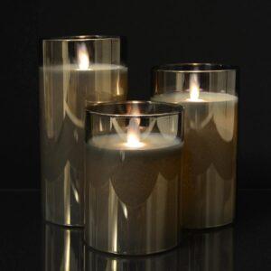 3 stk. LED Stearinlys i glas med bevægelig flamme og fjernbetjening Grå