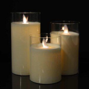 3 stk. LED Stearinlys i glas med bevægelig flamme og fjernbetjening Hvid