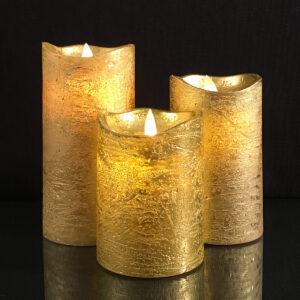 3 stk. LED Stearinlys med bevægelig flamme og fjernbetjening Guld