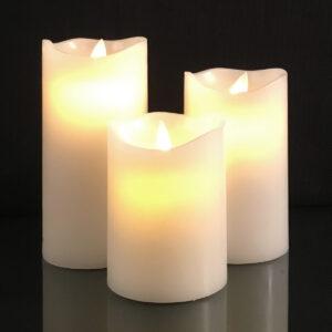 3 stk. LED Stearinlys med bevægelig flamme og fjernbetjening - Hvid
