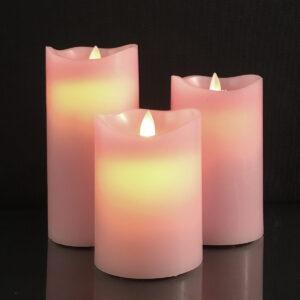 3 stk. LED Stearinlys med bevægelig flamme og fjernbetjening Lyserød