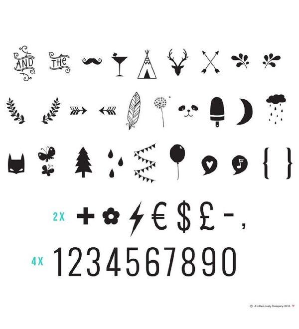 A Little Lovely Company Lyskasse Symbolsæt - Numbers & Symbols