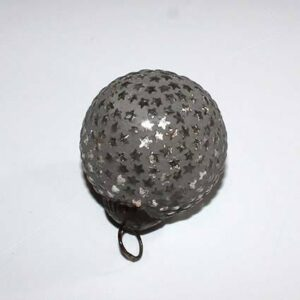 Antik Julekugle med stjerner, Grå - Ø 6 cm