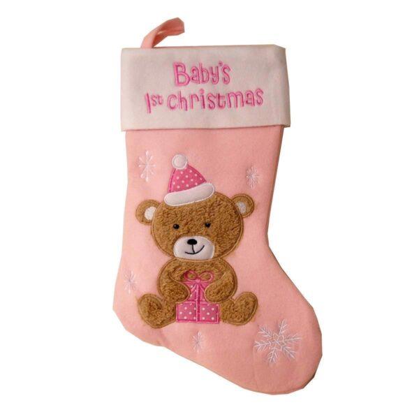 Baby;s første julestrømpe, filt, lyserød