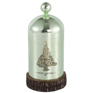 Bell Jar med lys i glas H21 cm Ø11 cm - Grøn