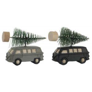 Bil / Rutebil m/ juletræ - Ib Laursen t/ ophæng Sort el. Grå