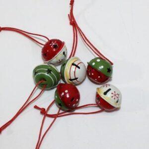 Bjælder julepynt - 6 stk - Rød/grøn/hvid