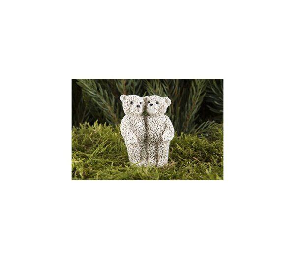 Bjørnepar på pind til krans H6 cm - Creme