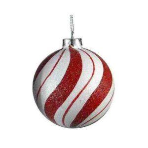 Candy cane julekugle i glas Ø10 cm - Rød/Hvid