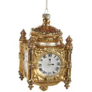 Clock ophæng i glas H12 cm - Antik guld