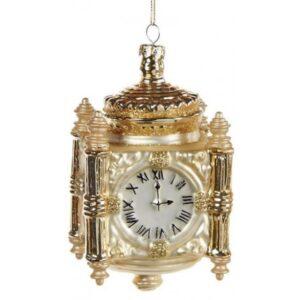 Clock ophæng i glas H12 cm - Antik guld/Antik creme