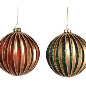 Dekorativ julekugle i glas Ø10 cm assorteret