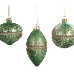 Dekorativ julekugle i glas Ø8 cm assorteret - Grøn