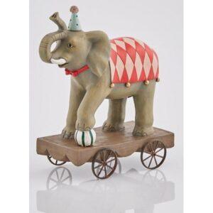 Elefant på vogn i polyresin H25 cm - Grå