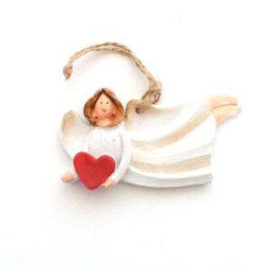 Engel m hjerte liggende- ophæng - 7 cm - Cremefarvet