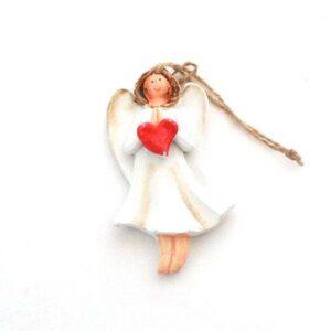 Engel m hjerte ophæng - 7 cm - Cremefarvet