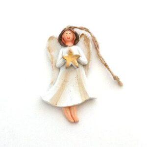 Engel m stjerne ophæng - 7 cm - Cremefarvet