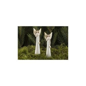 Engel på pind til krans H9 cm - Guld/Hvid
