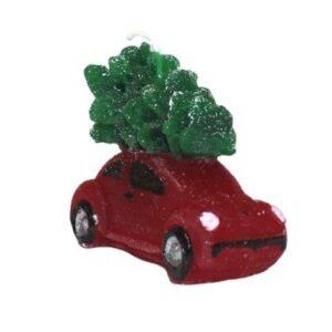 Figurlys - Rød bil med juletræ på tag