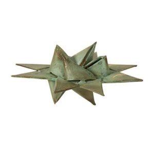 Flettet julestjerne i metal - Ø 10 cm - Antik grøn
