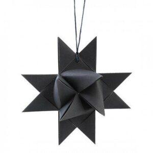 Flettet julestjerne til ophæng - Ø 9,5 cm - Mørkegrå