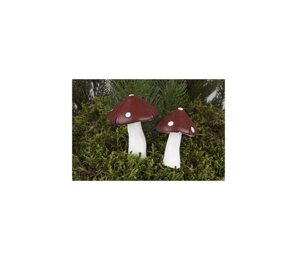 Fluesvamp på pind til krans H7 cm - Rød/Hvid