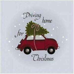 Frokostserviet - 20 stk. - 33 x 33 cm - Bil med juletræ på tag