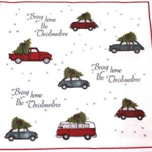 Frokostserviet - 20 stk. - 33 x 33 cm - Biler med juletræ på tag