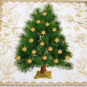 Frokostserviet - 20 stk. - 33 x 33 cm -Juletræ m guldstjerner