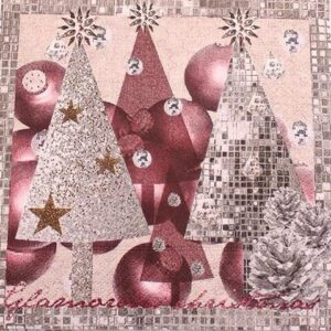 Frokostserviet - 20 stk. - 33 x 33 cm - Juletræ og kogler
