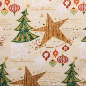 Frokostserviet - 20 stk. - 33 x 33 cm - Juletræ og stjerner