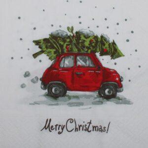 Frokostserviet - 33 x 33 cm - Rød bil med juletræ på taget