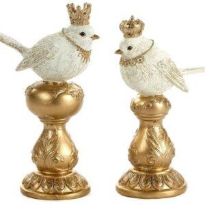 Fugl med krone H17 cm assorteret