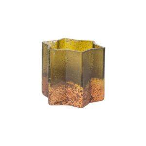 Fyrfadsstage i glas H8,5 x Ø8,5 cm - Antik grøn