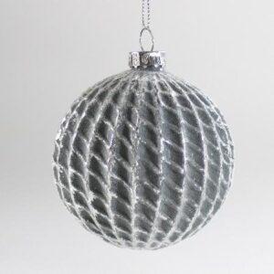 Glaskugle - Grå/Sølv - Ø 8 cm