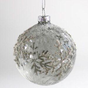 Glaskugle - Grå/Sølv - Snefnug - Ø 8 cm
