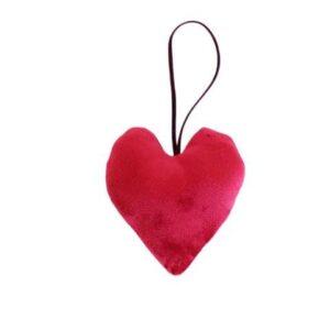 Hjerte i velour - H 9 cm - Rød
